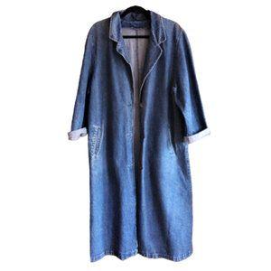Vintage 80s denim jeans long coat